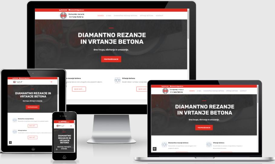 Izdelava spletne strani diamantno rezanje in vrtanje Dmitar Dimitrić s.p.